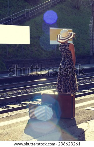 woman portrait, train station