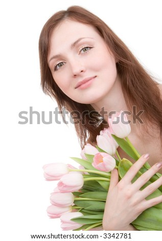Woman portrait with bouquet of tulips isolated on white background - stock photo