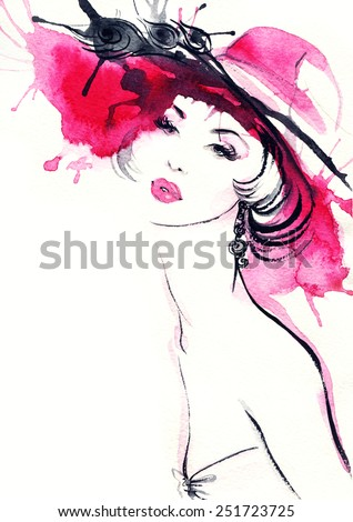 woman portrait with hat .abstract watercolor .fashion background - stock photo