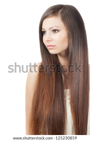 woman portrait with long shiny hair over white