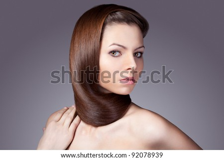 woman portrait with shawl from hairs, Studio portrait - stock photo