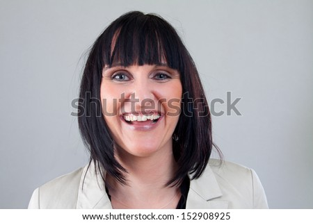 woman portrait with smiling face - stock photo