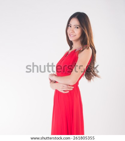 Woman portrait. young woman portrait on the background - stock photo