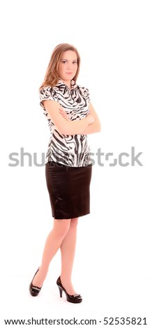 Woman posing in business suit isolated on white