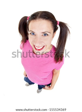 Woman posing in studio using fisheye lens - stock photo
