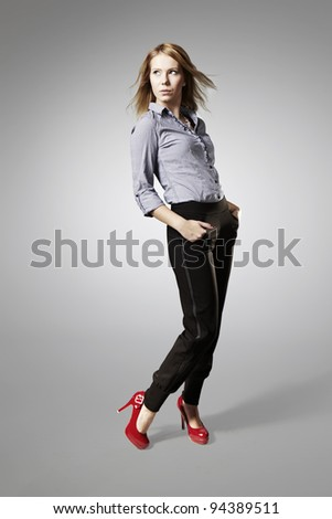 Woman posing on isolated background