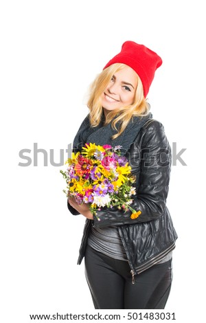 Woman posing with a bouquet. On white, isolated background.