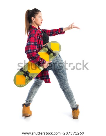 Woman posing with skate