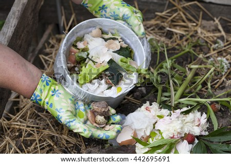 Woman pouring vegetable peels and organic waste to the compost bin. - stock photo