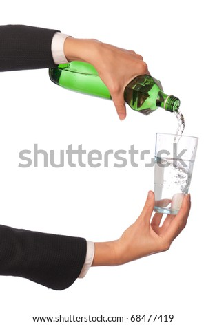 Woman pouring water to a glass from the bottle