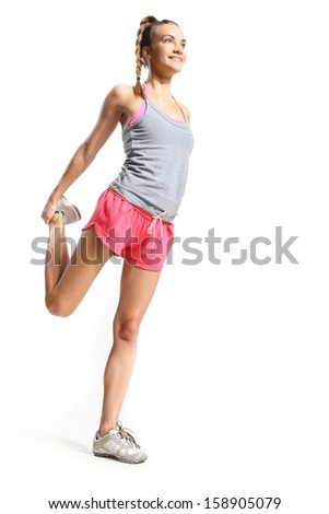 Woman practicing balance - stock photo