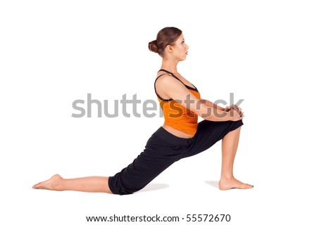 Woman practicing first stage of yoga pose called Crescent Lunge, sanskrit name: Anjaneyasana, this posture stretches the thighs, hamstrings, groins, hip, isolated on white - stock photo