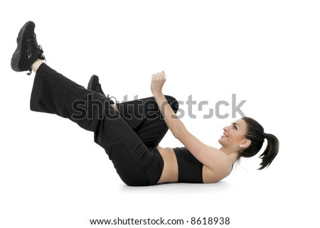 woman practicing fitness  on  isolated background