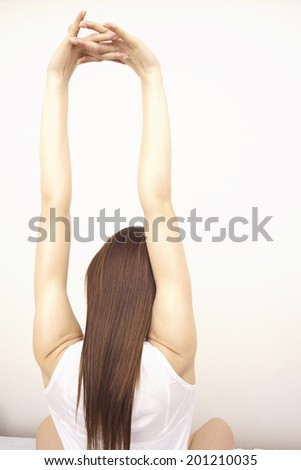 Woman practicing gymnastics