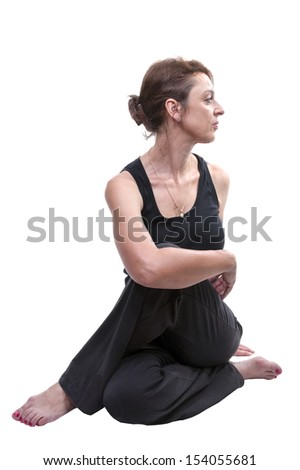Woman practicing yoga on white background