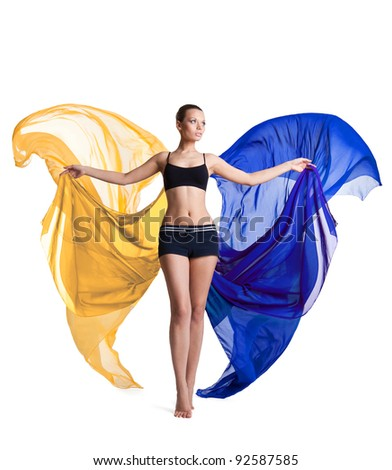 woman prepare for fitness and flying fabric - stock photo