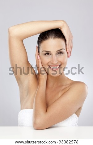 Woman prepared for health care in wellness - stock photo