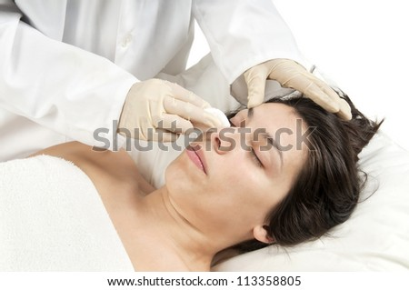 Woman preparing for cosmetic surgery