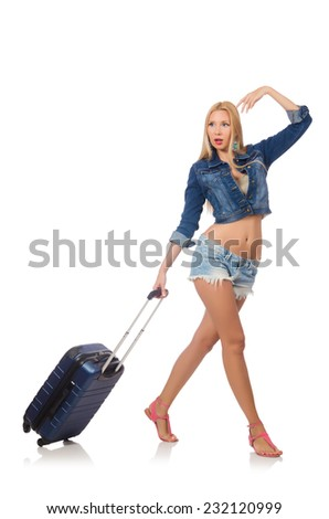 Woman preparing for long travel isolated on white - stock photo