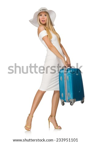 Woman preparing for summer vacation isolated on white