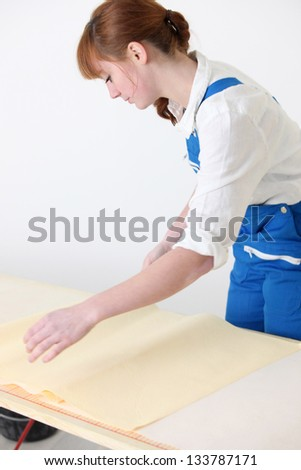 Woman preparing new wallpaper - stock photo