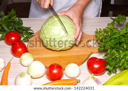 Woman preparing vegetables in the kitchen - stock photo