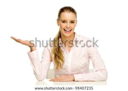 Woman presenting something - stock photo