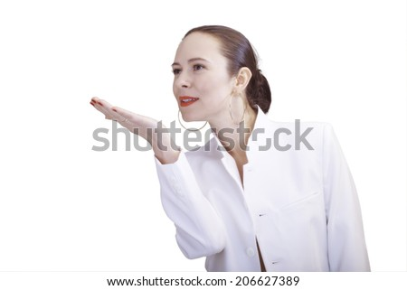 Woman presenting something on her hand - stock photo