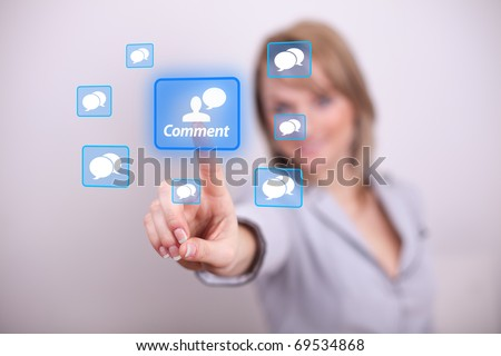 Woman pressing comment button with one hand