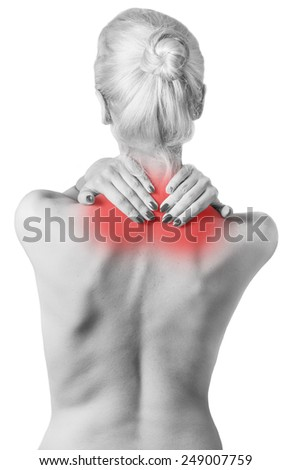 Woman pressing her hands against a painful shoulder. Isolated on white. - stock photo