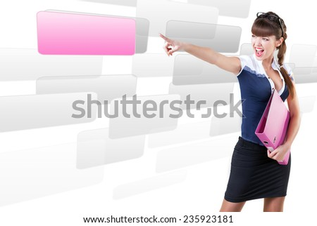 woman pressing OK button,