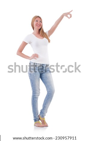Woman pressing virtual button isolated on white
