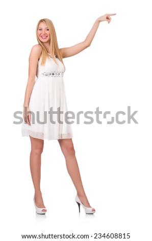 Woman pressing virtual button isolated on white - stock photo