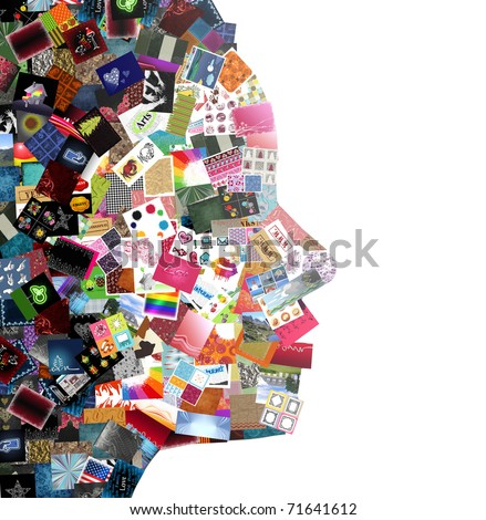 woman profile made with images patchwork - stock photo