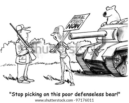 woman protesting poor defenseless bear with tank