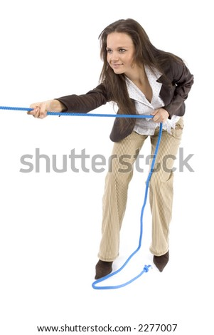 woman pulling the rope (white background) - stock photo