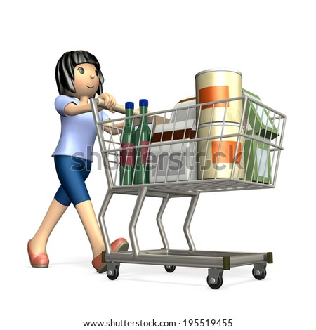 Woman pushing a shopping cart. She was a lot of shopping. - stock photo