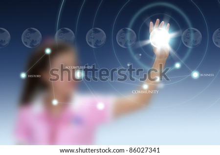 woman pushing a world map on a touch screen interface - stock photo