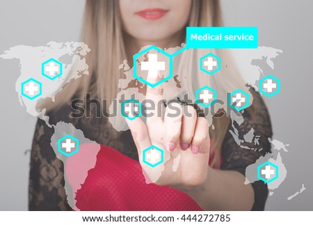 Woman pushing button with cross map medical service web icon. business, technology and internet concept in medicine - stock photo