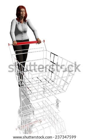 Woman pushing shopping cart - stock photo