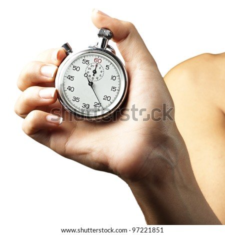woman pushing stopwatch button against a white background