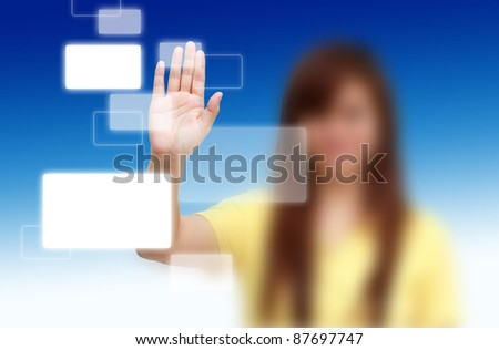 Woman pushing the button. Choice concept - stock photo