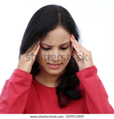 Woman puts hands on the head - stock photo