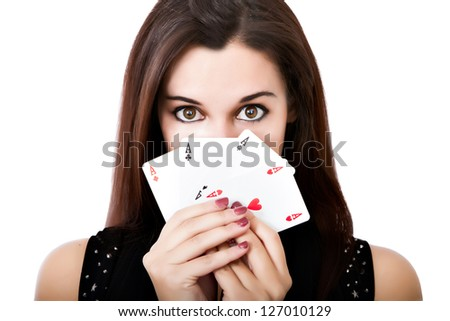 woman queen of poker aces - stock photo