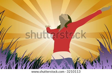 Woman reaches to the sky (also available in vector) - stock photo
