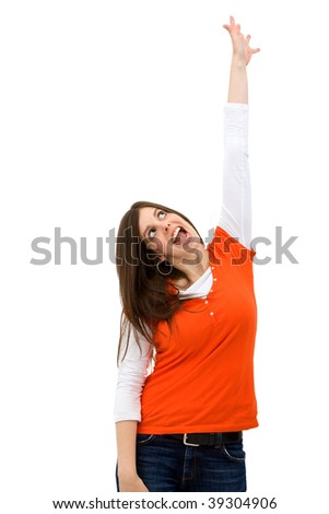 woman reaching for something imaginary isolated on white