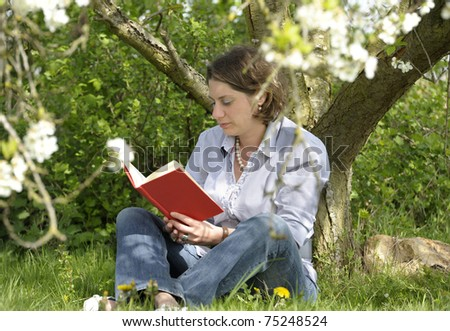 woman reading a book under a tree - stock photo