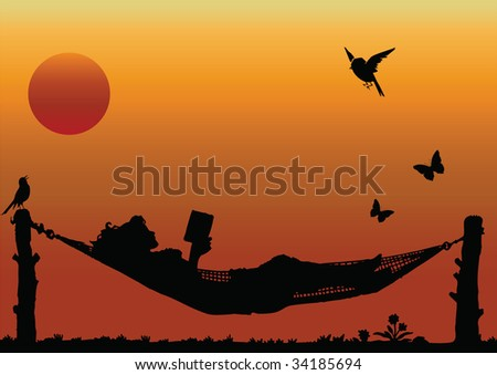 Woman Reading in a Hammock - stock photo