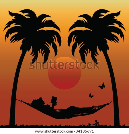 Woman Reading in a Hammock Between Palm Trees - stock photo