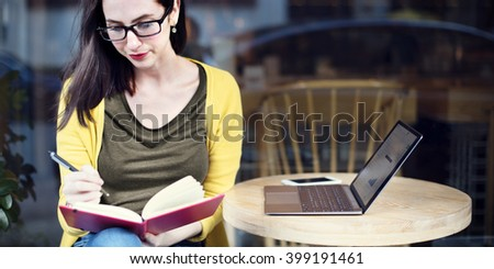 Woman Reading Studying Cafe Restaurant Relaxation Concept - stock photo